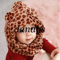 Baby thermal protector - Classic leopard print child hat cape muffler scarf baby hat thermal ear protector cap