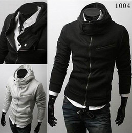Wholesale Hot Men s Hoodie Fashion High collar Multi zipper Hoodies M XL W01