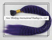 Wholesale 200strands purple pinGrizzly Stick tipped Feather Hair Straight hair extensions synthetic hair