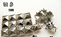 Wholesale 9mm Silver square pyramid Spikes Rivet button and Nailhead Punk Bag Cloth Accessory pieces