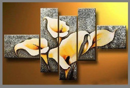 Wholesale hand painted oil wall art good golden yellow flowers home decoration Landscape Framed oil painting on canvas set
