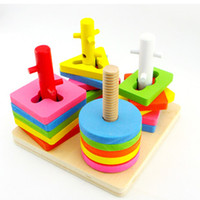 Wholesale Set column child puzzle wooden shape blocks baby intellectual box toy