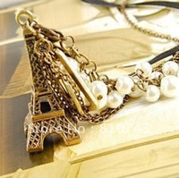 Wholesale Vintage Brass Pearl Eiffel Tower Charms Pendant Necklace on sale promotion price present for lady