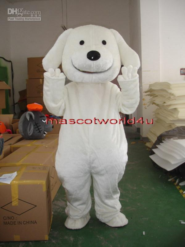 Professional New White Puppy Dog Mascot Costume Adult Size ...