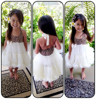 baby pettidress - NEW arrival leopad with ivory soft chiffon ruffle pettidress for baby tutu dress halter dress for baby