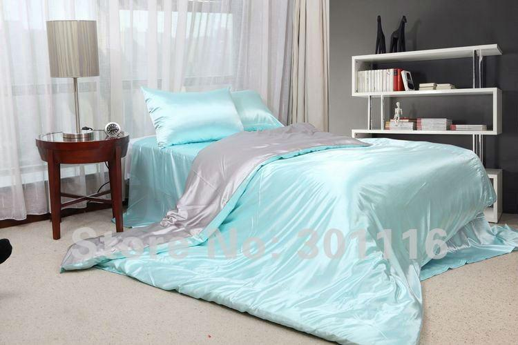 Fashion Bedding Blue Imitated Silk Bed Sheet Set Duvet
