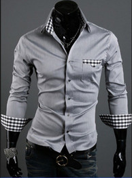Wholesale New Mens Shirts Casual Slim Fit Stylish Hot Cotton Shirts Colour black white grey Size