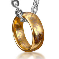 lord of the rings ring tungsten - Bahamut Lord of The Rings Tungsten Ring Pendant Necklace Free With Titanium Steel Chain Men s Jewelr