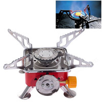 Wholesale Portable Windproof Stove with Carrying Bag for Outdoor Camping Red with Silver