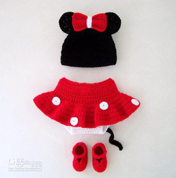 Christmas baby crochet Mickey Minnie sets hat & diaper dress & shoes 0-12M cotton 4sets/lot custom