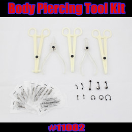 Wholesale 25pcs Sterile Disposable Body Piercing Tools needle Belly Eyebrow Lip Ring jewelry