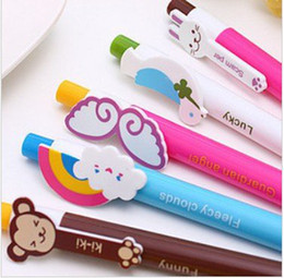Discount pen refills blue color 100 Pc Lot Mix 6 Color Cartoon Wing and Animal ball pen Ballpoint Pen 0.7MM blue Core FreeShipping