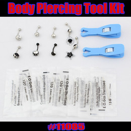 Wholesale 18pcs Sterile Disposable Body Piercing Tools needle Belly Ring jewelry Kit