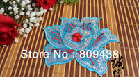 Wholesale 14 x12 CM sequin patch embroidered sequin flower applique iron sew on stage clothing craft