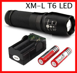 DHL free,Ultrafire 1600lumen CREE Zoomable XM-L T6 LED Flashlight Torch +2*18650 battery+charger