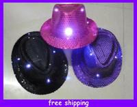 Blue l.e.d. - Flashing Sequin L E D Fedora Hat Party Hat Light