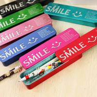 Metal Pencils Zhejiang China (Mainland) Free Shipping, New Cute Colors Smile Tin Pencil Case, Pen Box, Fashion Office Supplies Student Stati