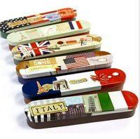 Wholesale New vintage flag printed iron Pencil box Tin pencil case iron storgae box iron case