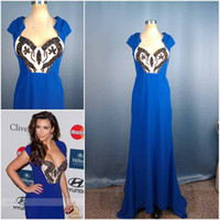Chiffon Cap Sleeves Sweep Train Royal Blue kim kardashian Custom red Carpet Cap sleeve Bodycon Sequin Bead Sexy Formal evening dress