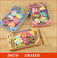 Wholesale 8sets Cute cake eraser Funny pencil rubber with Price Funny eraser SS