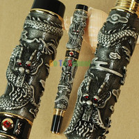 Wholesale JINHAO OLD GREY FOUNTAIN PEN BROAD NIB TWO DRAGONS PLAY THE PEARL CRYSTAL