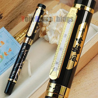 Calligraphy & Fountain Pens Ballpoint Pen Shanghai China (Mainland) JINHAO BLACK AND GOLDEN ROLLER BALL PEN CHINA GREAT WALL WITH ORIGINAL BOX FREE SHIPPING