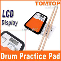 Wholesale Flanger Digital Drummer Training LCD Display Drum Practice Pad with Metronome drum sticks amp bag I95