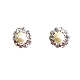 Wholesale Angel earrings ear clip by culvert pearl rhinestone sunflowers with wedding dress R36