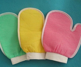 Wholesale 100 Pieces Bath Exfoliating Gloves Double Thumb Bath Towel Face Body Shower Cloth Gloves