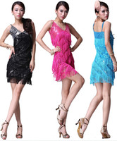 Wholesale Latin Dance Dresses Stage Wears Sex Sequin Dresses Tassel Dresses Competition Latin Dance Skirt Square Dance Suits Free Size Hot Latin Wears