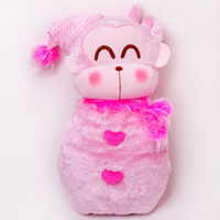 Wholesale Pink card monkey snowily challenge po hot water bottle birthday gift christmas gift
