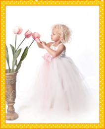 Wholesale Light Pink Tulle Ball Gown Floor Length First Communion Flower Girl Tutu Dress
