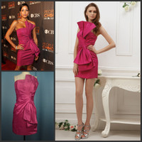 Wholesale Wow Fantastic Rosy Strapless Big Bow In Front Taffeta Mini Cocktail Dress Sweet Homecoming Gown