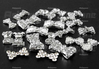 Wholesale 50 D Silver Alloy Bow Tie Bowtie Rhinestones Nail Art Glitters DIY Decorations
