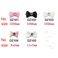 Wholesale 3D Acrylic Dot Resin Ribbon Flatback Beads Sticker Bowknot Bow Rhinestone Tie Nail Art Tips Decorati
