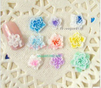 Wholesale AJ740 Pretty Multicolor D polymer clay Flower Acrylic Nail Art Tips Decoration UV Acrylic