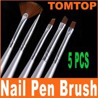 Wholesale 10sets Silver Nail Art Design Pen Painting Dotting Brush Brushes Set free drop shipping H4561