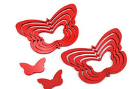 Wholesale Butterfly shaped three dimensional relief wall stickers DIY TV backdrop decoration red