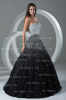 Wholesale 2013 DHgate Actual Hot Sale Sexy Strapless Tulle Black Beaded Ball Gown Evening Dresses BO000129