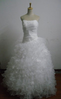 Wholesale Wow white strapless chapel train organza with lace and Multi ruffled ball gown wedding dresses