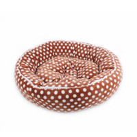 Wholesale 1PCS polka dot coral fleece round pet dog bed mat thickening cat nest Pink coffee co