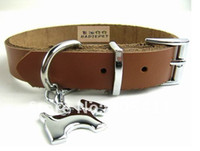 Wholesale Top Quality Classic Genuine Leather Dog Collar coffee alloy Cat collars and crystal
