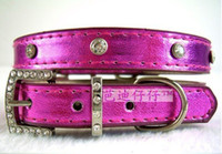 Wholesale Single Row Crystal Metallic Dog Collar PU leather pet collars Cat Necklace with cute jew