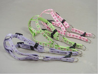 Wholesale Nylon PVC Leather pet leashes and harness Cute Pattern cat puppy Harnesses and Leads