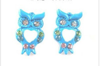 Wholesale cute girl s shining crystal owl pattern korean style stud earring hot p39