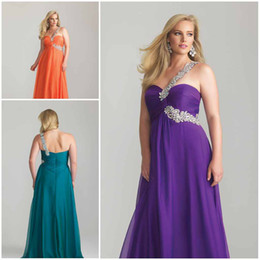 Wholesale Plus size Dresses One shoulder Empire Orange Purple Hunter Prom Gowns Long Evening Dre