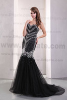 Wholesale 2013 DHgate Hot Sale Sexy Sweetheart Satin amp Tulle Black Beaded Mermaid Evening Dresses DH003844