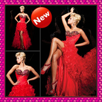 2013 Hot Red Organza Ruffle Hi Lo Prom Dresses Beaded Sweeth...