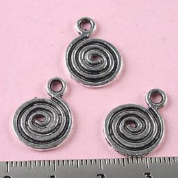60pcs Tibetan silver spiral flat round charms H0150