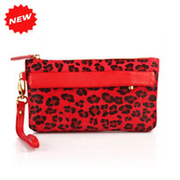 Wholesale Women s Elegant Red Genuine Cow Leather And Horse Fur Evening Party Bag Purse With Leopard Prints TP